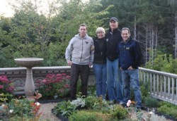 Dan Farrenkopf, Carolyn Hollenbeck, Phid Lawless and Sam Coplon with newly installed Lunaform birdbath photo by Kathy Suminsby