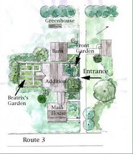 Plan of Garland Farm by Patrick Chassé, 2003, Beatrix Farrand Society Archives